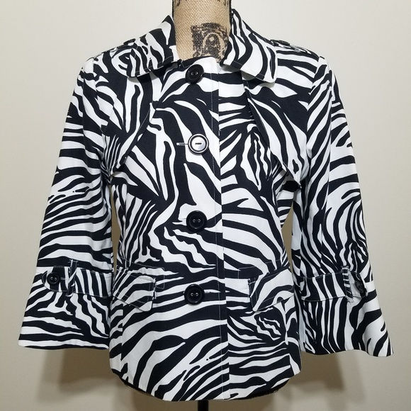 Rafaella Jackets & Blazers - Rafaella Zebra Print Cotton Blazer Jacket Large